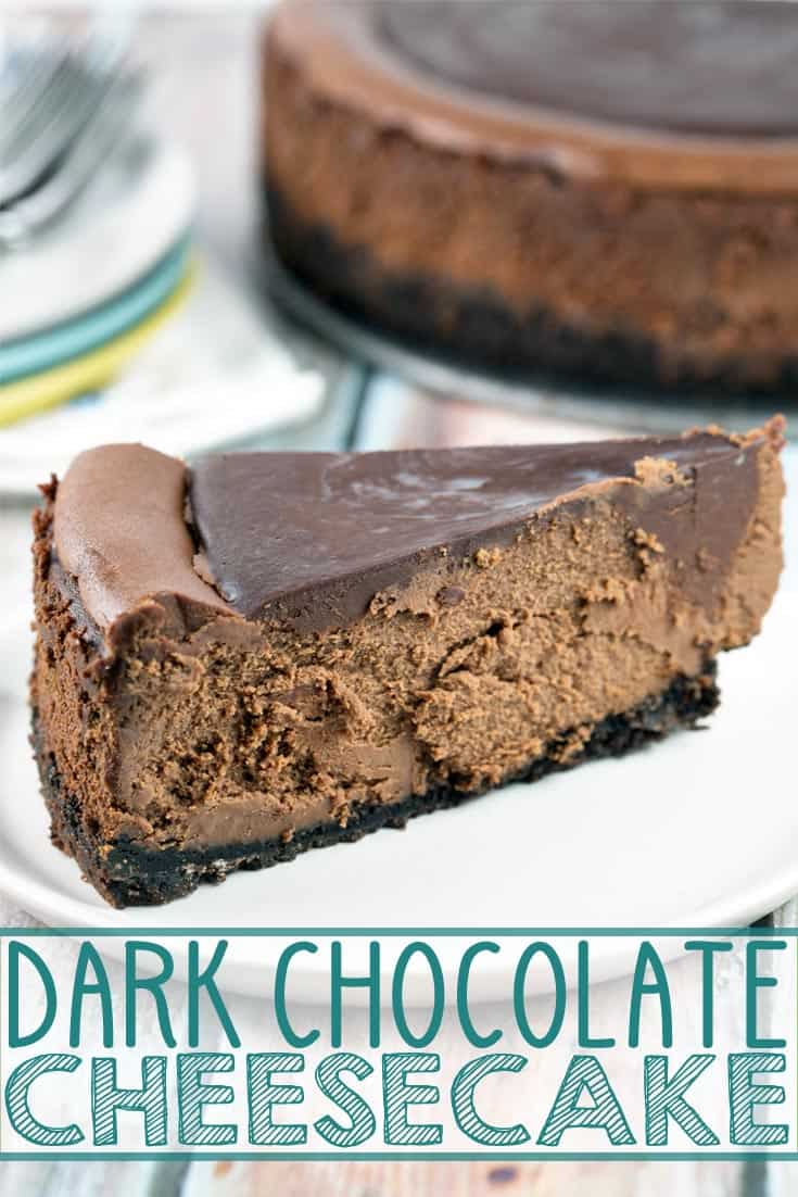 Rich, decadent dark chocolate cheesecake covered in rich chocolate ganache. No water bath necessary! {Bunsen Burner Bakery} #cheesecake #chocolate #chocolatecheesecake #dessert