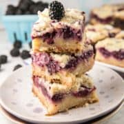 Blackberry Pie Bars: everything you love about a custardy blackberry pie, in an easy to make, easy to share form. {Bunsen Burner Bakery} #pie #piebars #blackberries #summer