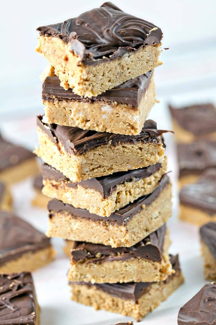 No Bake Peanut Butter Bars: Five ingredients and ten minutes are all you need for this crowd-pleasing favorite! {Bunsen Burner Bakery}