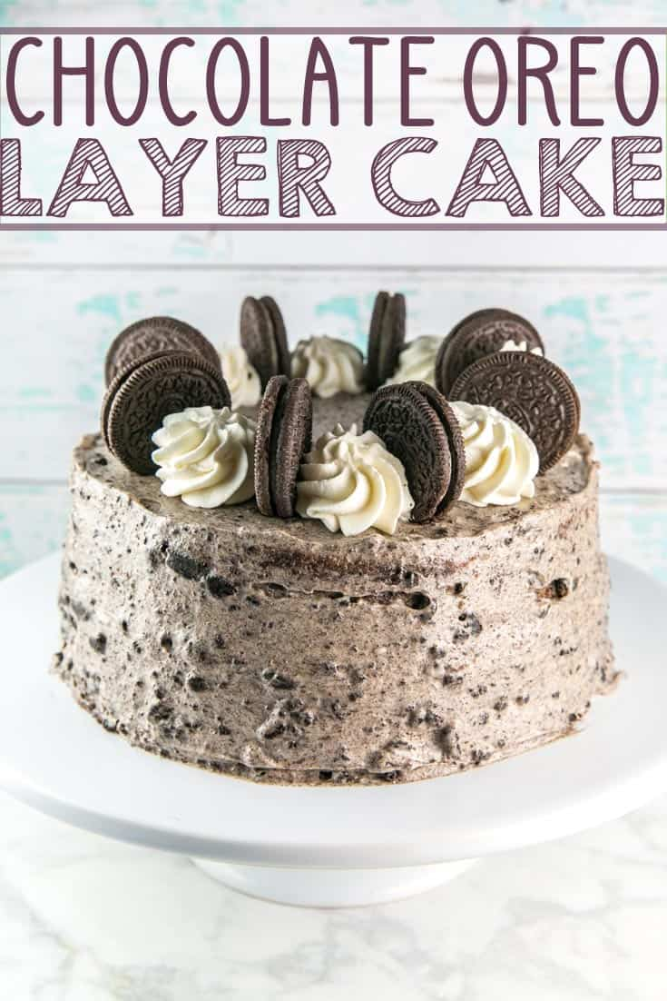 Chocolate Oreo Layer Cake: a rich buttermilk chocolate cake, dotted with chocolate chips and sandwiched between thick layers of Oreo cream cheese frosting. {Bunsen Burner Bakery} #cake #chocolatecake #creamcheesefrosting #oreocake