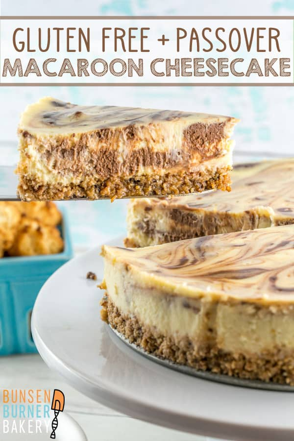 Gluten Free Macaroon Crust Cheesecake: rich chocolate swirled cheesecake with a coconut macaroon crust. Perfect for Passover seders or as a gluten free dessert option! #bunsenburnerbakery #cheesecake #passover #glutenfree