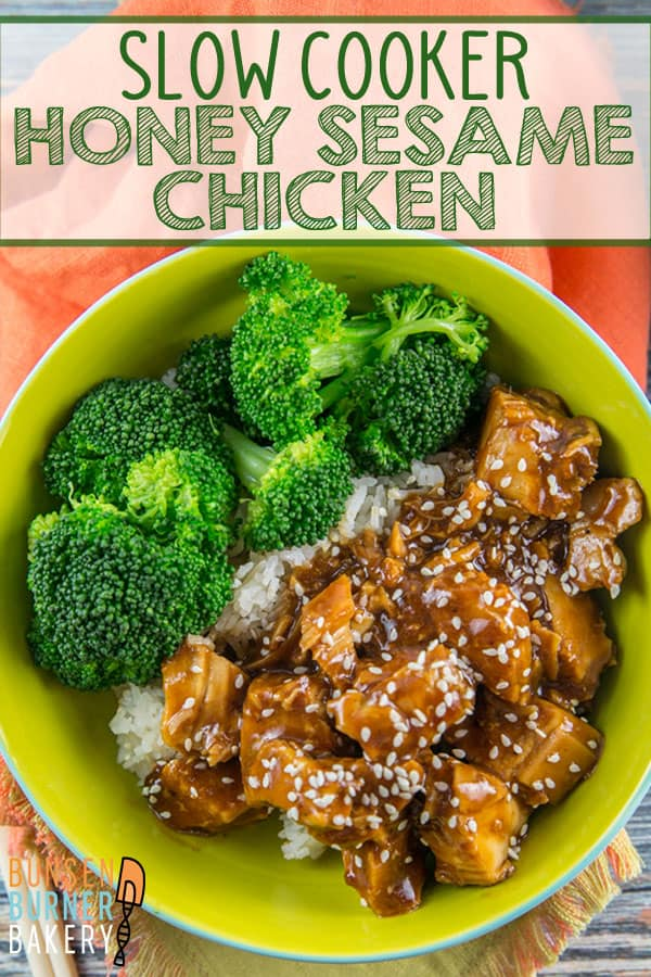 Slow Cooker Honey Sesame Chicken: an easy sweet and spicy chicken recipe made right in your crockpot. #bunenburnerbakery #slowcooker #crockpot #dinners #glutenfree