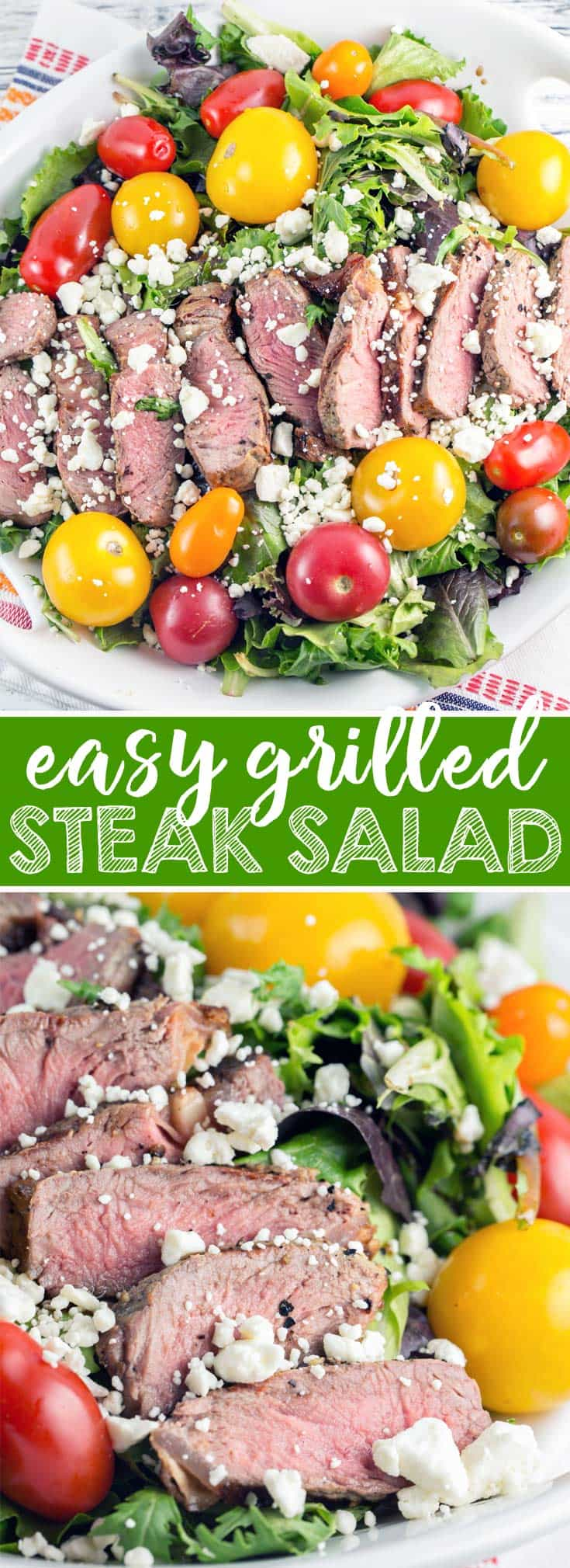 Grilled Steak Salad: grilled steak on a bed of leafy greens with homemade honey mustard vinaigrette - the perfect summer hot weather dinner! {Bunsen Burner Bakery}