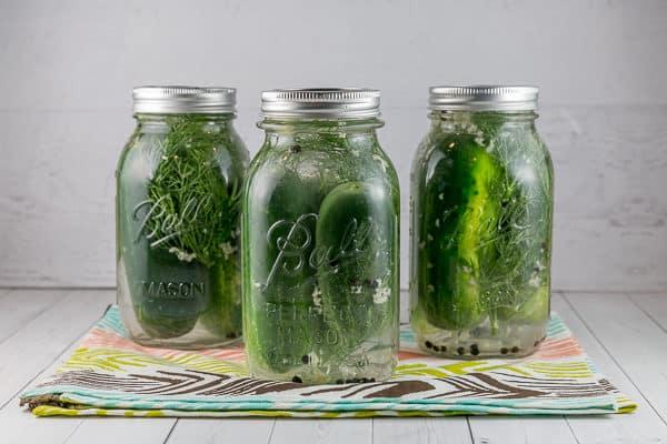 three mason jars filled with refrigerator pickles