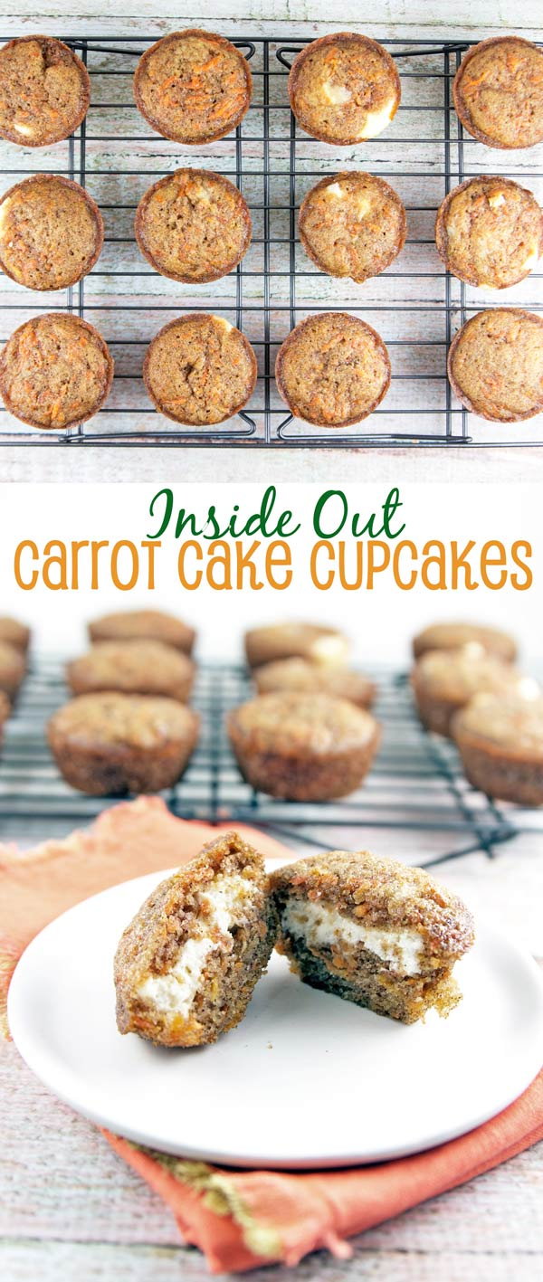 Inside-Out Carrot Cake Cupcakes: Take your carrot cake on the go with these inside-out carrot cake cupcakes — the frosting is on the inside. Surprise! {Bunsen Burner Bakery}
