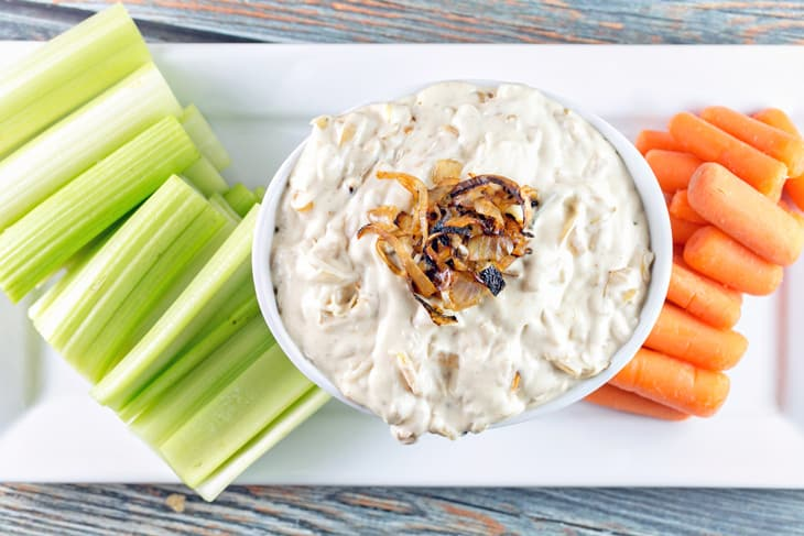 Caramelized Onion Dip: Skip the canned onion dip and make your own from scratch. Slowly caramelized onions mixed with cream cheese, sour cream, and mayonnaise combine to make the ultimate party dip. {Bunsen Burner Bakery}