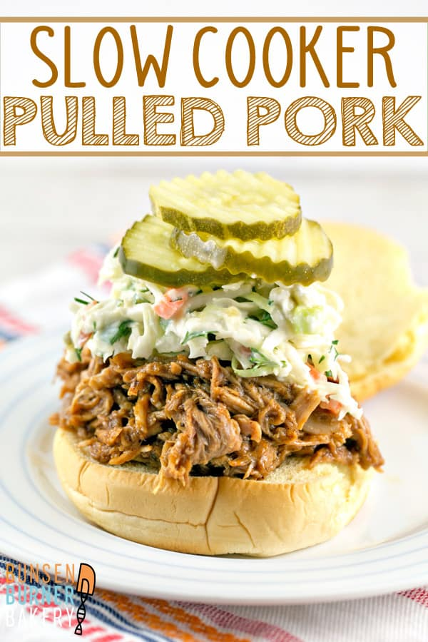 Slow Cooker BBQ Pulled Pork Sliders with Horseradish Dill Coleslaw: perfect for parties and football games! #bunsenburnerbakery #pulledpork #slowcooker #gameday