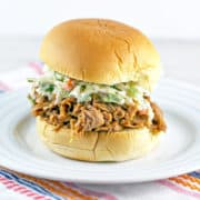 Crockpot BBQ Pulled Pork Sliders with Horseradish Dill Coleslaw: perfect for parties and football games! {Bunsen Burner Bakery} #pulledpork #slowcooker #gameday