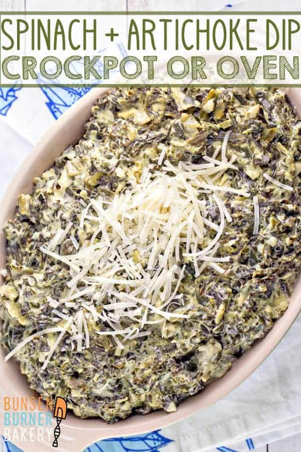 Spinach and Artichoke Dip: bake it in the oven or make it in the slow cooker -- either way, this spinach and artichoke dip will be a huge hit at your next party.  Gluten free and vegetarian! #bunsenburnerbakery #partydips #spinachartichokedip #glutenfree #vegetarian