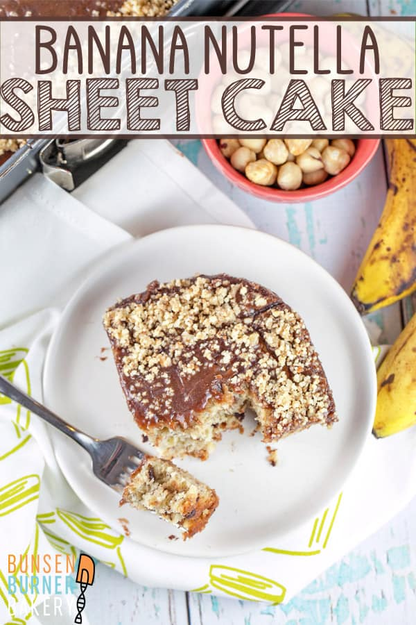 Banana Nutella Cake: an easy sheet cake, covered with rich, decadent melted nutella icing. So easy, yet so delicious! #bunsenburnerbakery #cake #sheetcake #bananacake #nutella