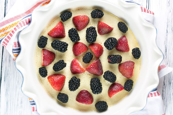 Strawberry Blackberry Clafoutis: This easy clafoutis is made in the blender and highlights fresh summer produce. Serve plain for brunch or top with ice cream for dessert! {Bunsen Burner Bakery}
