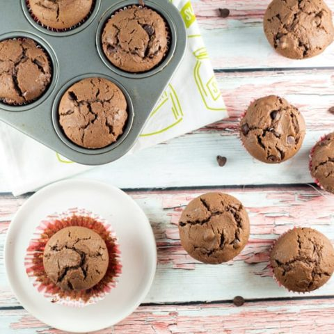Chocolate Chocolate Chip Muffins: rich and decadent, this is a muffin that's really a dessert in disguise. Chocolate for breakfast? Yes, please! #bunsenburnerbakery #muffins #chocolatemuffins #breakfast #dessert