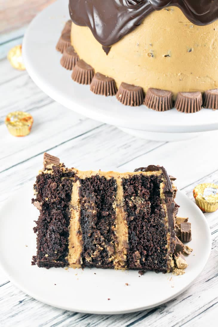 Chocolate Peanut Butter Cup Cake: Chocolate cake, peanut butter frosting, chocolate ganache, peanut butter cups. This Peanut Butter Cup Cake is a chocolate and peanut butter lover's dream. {Bunsen Burner Bakery}