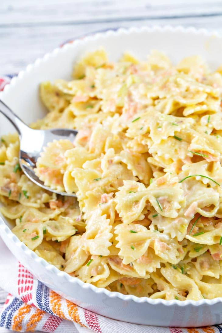 Creamy Smoked Salmon Pasta: perfectly cooked pasta in a rich cream and egg sauce, tossed with fresh smoked salmon and chives. A delicious, easy celebratory brunch favorite! {Bunsen Burner Bakery}