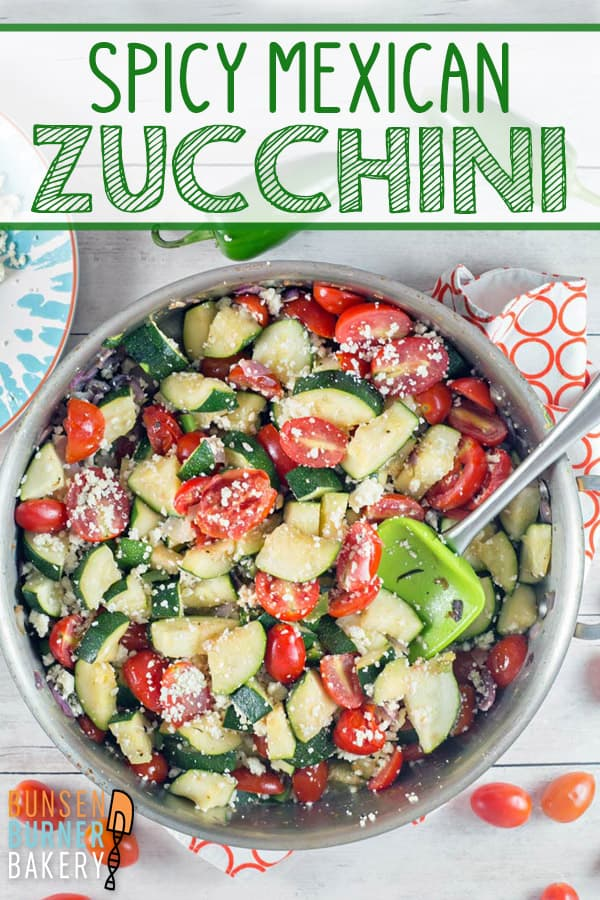 Mexican Zucchini: spice up your summer zucchini with tomatoes, red onion, jalapenos, cilantro, and cotija cheese.  An easy vegetarian skillet recipe for dinner or a side. #bunsenburnerbakery #zucchini #vegetarian #glutenfree