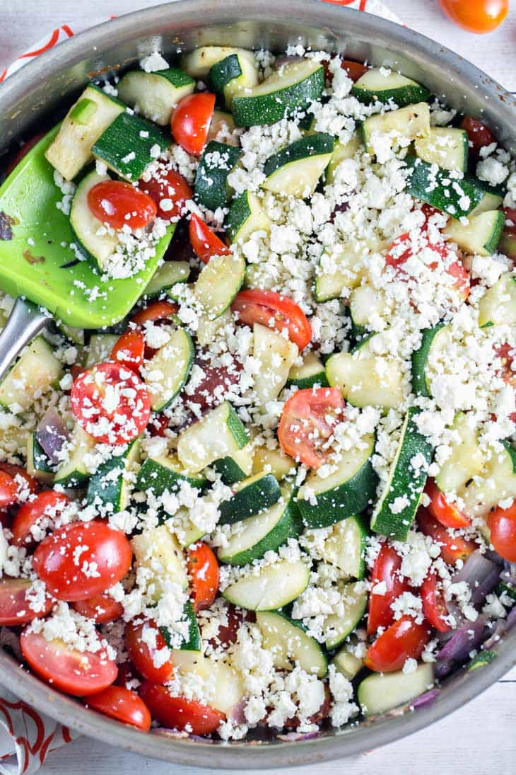 mexican zucchini mixed with cotija cheese and cilantro