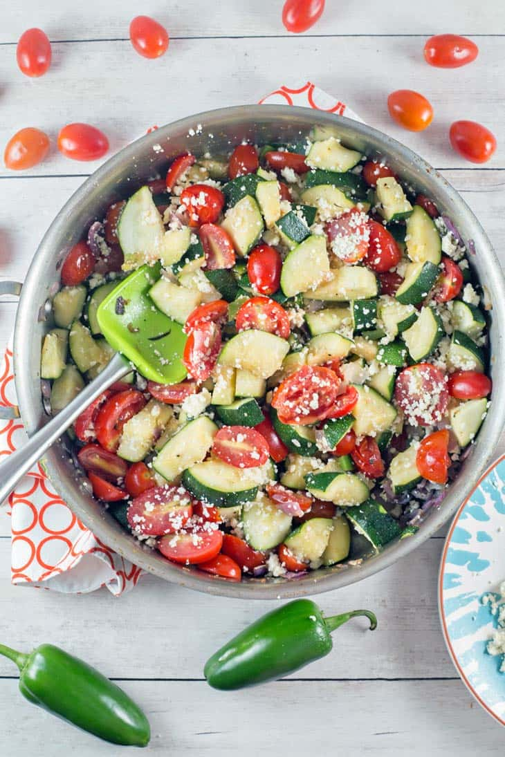 bright green cooked zucchini ready to serve
