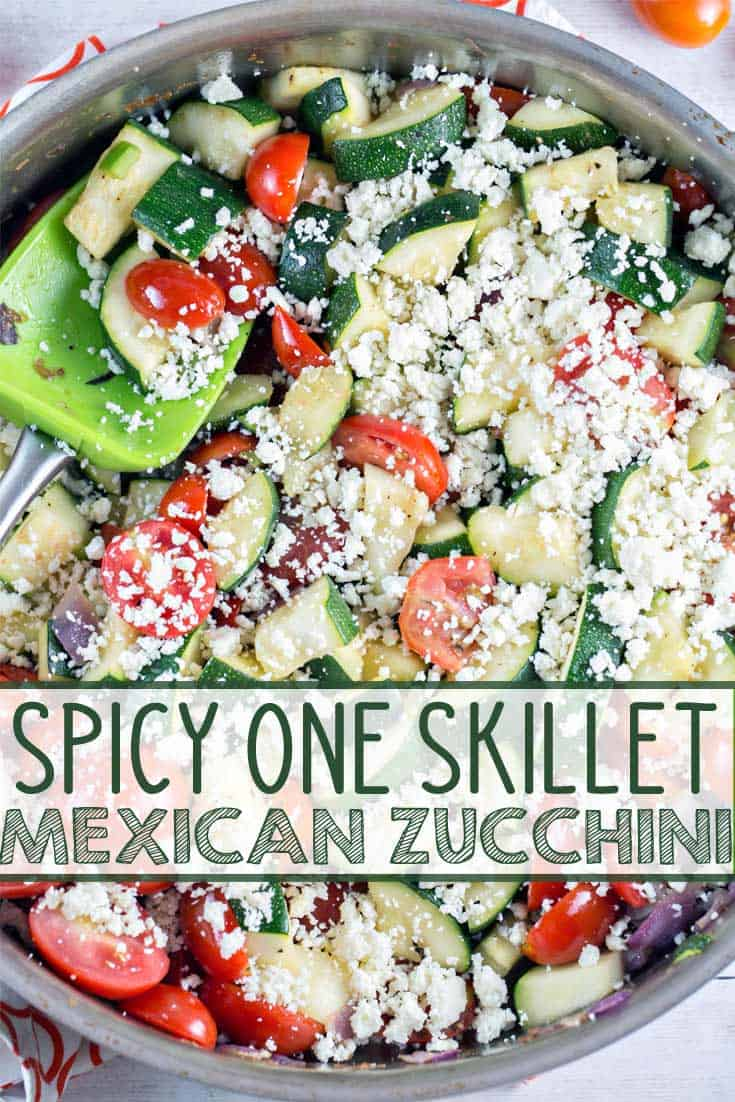Mexican Zucchini: spice up your summer zucchini with tomatoes, red onion, jalapenos, cilantro, and cotija cheese. It's all your favorite Mexican flavors, paired with healthy fresh zucchini. Vegetarian + Gluten Free! {Bunsen Burner Bakery} #sides #healthy #zucchini #vegetarian #glutenfree