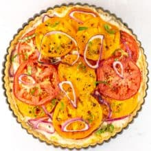 tomato pie with red and yellow tomatoes