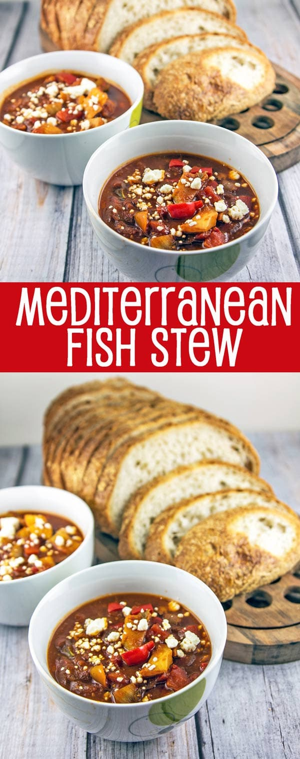Mediterranean Fish Stew: warm up from the cold with a quick, hearty yet healthy, gluten-free stew of fish and vegetables simmered in a tomato broth. {Bunsen Burner Bakery}