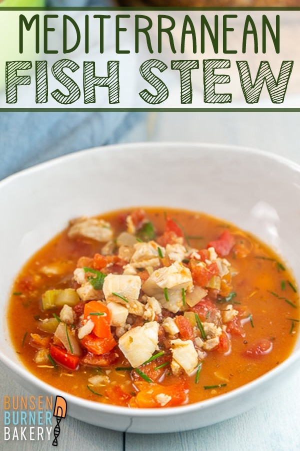 Mediterranean Fish Stew: Quick and easy recipe for fish and vegetables simmered in a tomato broth with Mediterranean herbs. Delicious and gluten free! #bunsenburnerbakery #fish #stew #glutenfree