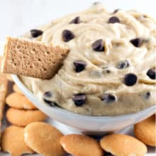 Chocolate Chip Cookie Dough Dip: No bake, egg free, cookie dough - even better than a chocolate chip cookie. Perfect for parties! {Bunsen Burner Bakery}