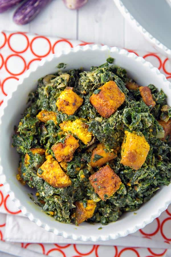 crispy paneer sauteed in turmeric and cayenne with spiced spinach
