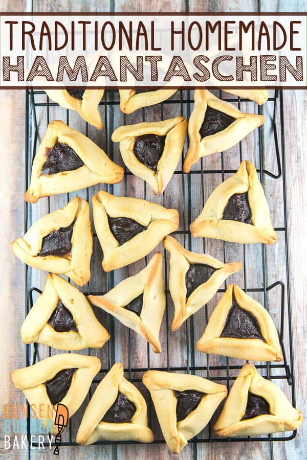 Traditional Homemade Hamantaschen Recipe: Making your own homemade hamantaschen is easy! Learn how with this simple dough recipe and all the tips you need for perfectly shaped hamantaschen without spilled filling! #bunsenburnerbakery #purim #hamantaschen #cookies