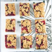 Strawberry Rhubarb Oatmeal Bars: easier than a pie, but just as delicious! {Bunsen Burner Bakery}