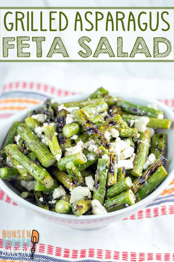 Grilled Asparagus Salad: delicious warm or cold, the combination of grilled asparagus with lemon and feta is sure to become one of your favorite summer recipes. #bunsenburnerbakery #grilling #salad #asparagus