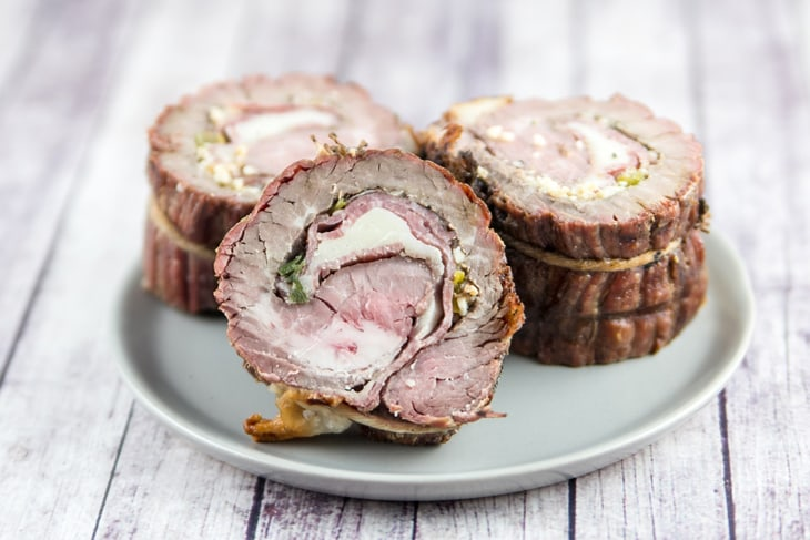 Italian Flank Steak Pinwheels: flank steak stuffed with salami and provolone, rolled tightly, and grilled. Go ahead, impress your friends - they don't have to know how easy this is. {Bunsen Burner Bakery}