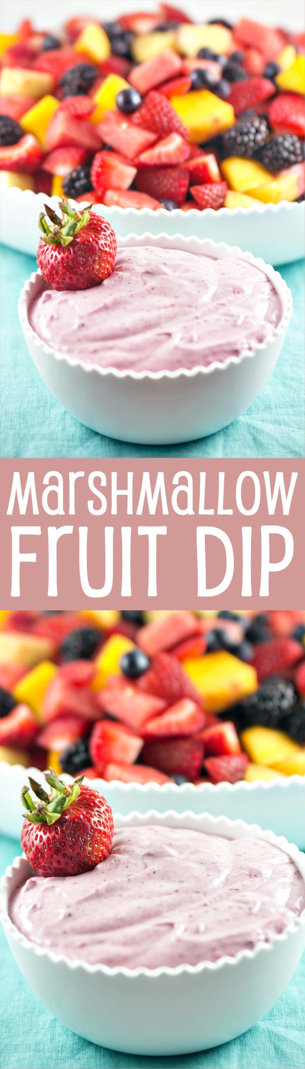 Marshmallow Fruit Dip made with homemade marshmallow fluff and pureed berries. {Bunsen Burner Bakery}