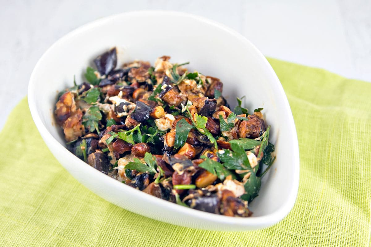 Roasted Eggplant and Smoked Almond Dip with goat cheese, parsley, and a honey-vinegar dressing. {Bunsen Burner Bakery}