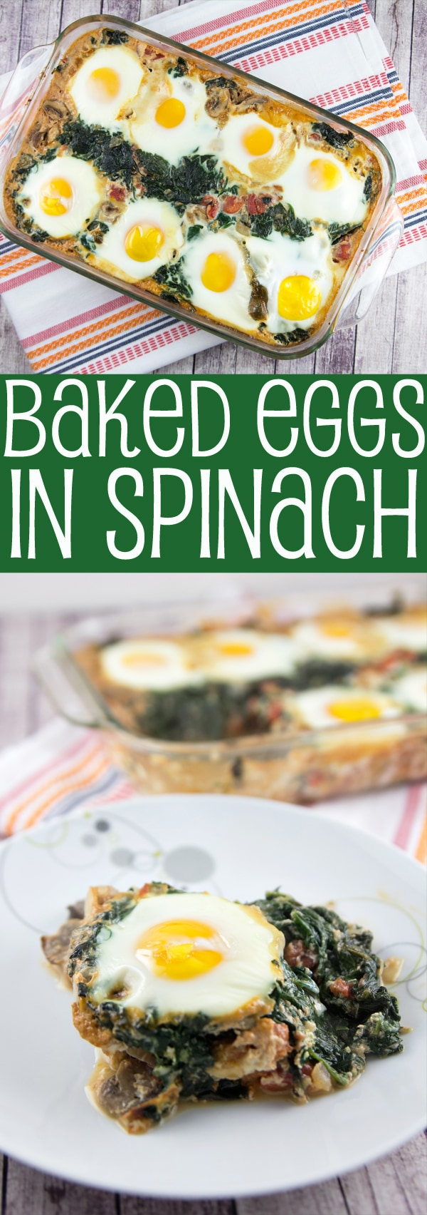 Baked Eggs in Spinach: start your mornings off right with this healthy and filling vegetarian and gluten-free breakfast. {Bunsen Burner Bakery}