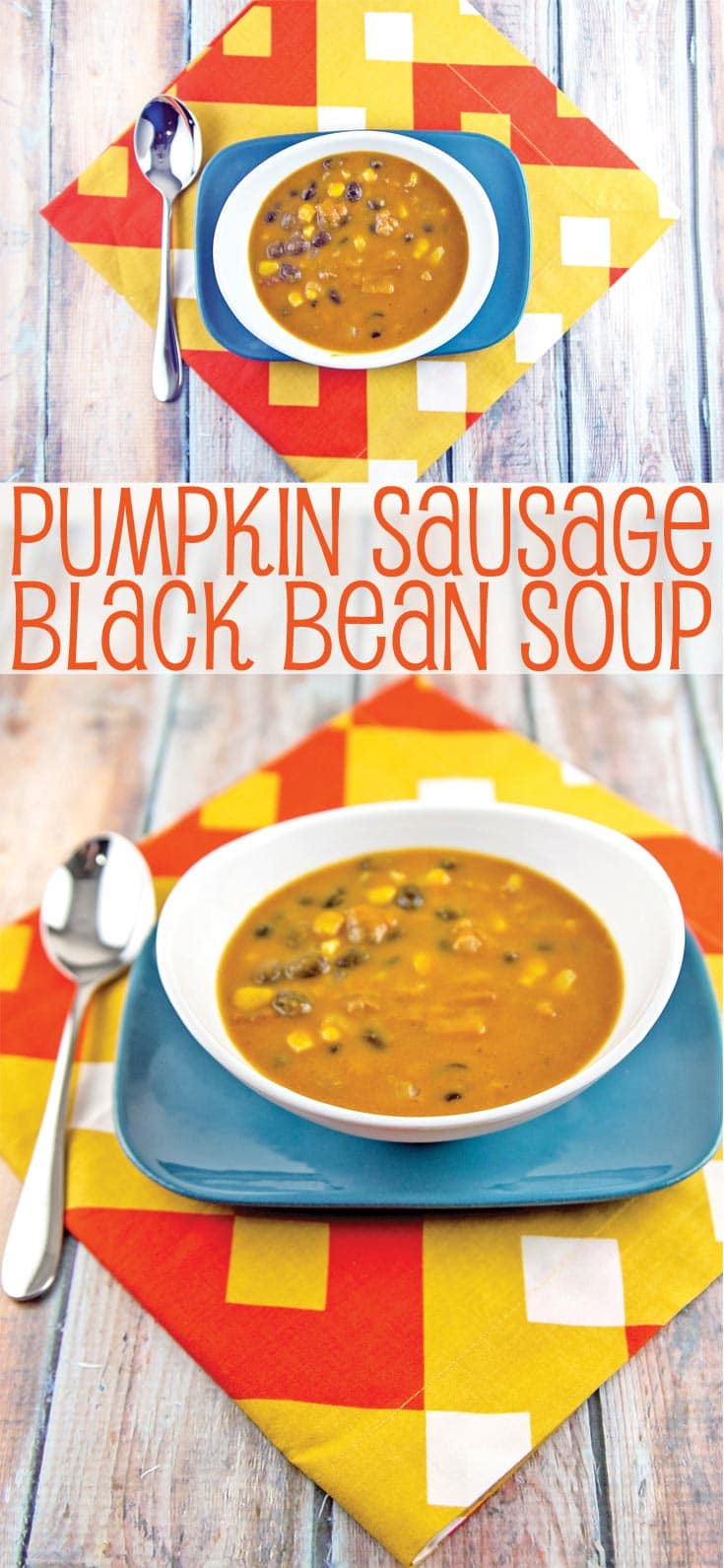 Pumpkin, Sausage, and Black Bean Soup: an easy, hearty soup for cold winter nights. Make ahead -- freezer friendly! {Bunsen Burner Bakery}