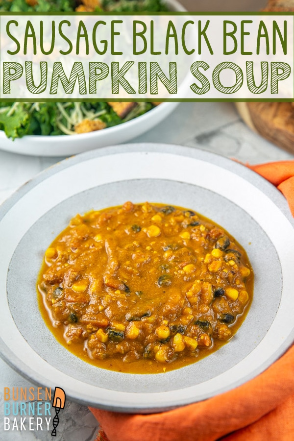 An easy, hearty gluten free pumpkin, sausage, and black bean soup, perfect for cold winter nights. Make a double batch and freeze the leftovers!