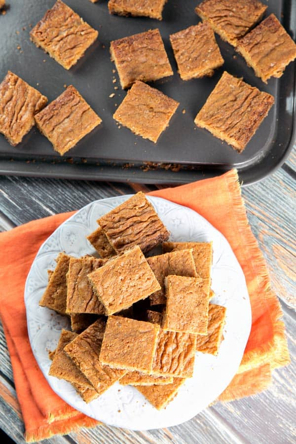 soft butterscotch blondies with shiny crackly tops