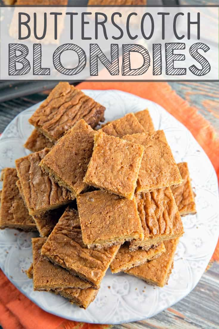 Butterscotch Blondies: time to shake up your brownie routine with these one bowl, mix by hand, rich and buttery treats. #blondies #butterscotch #onebowl