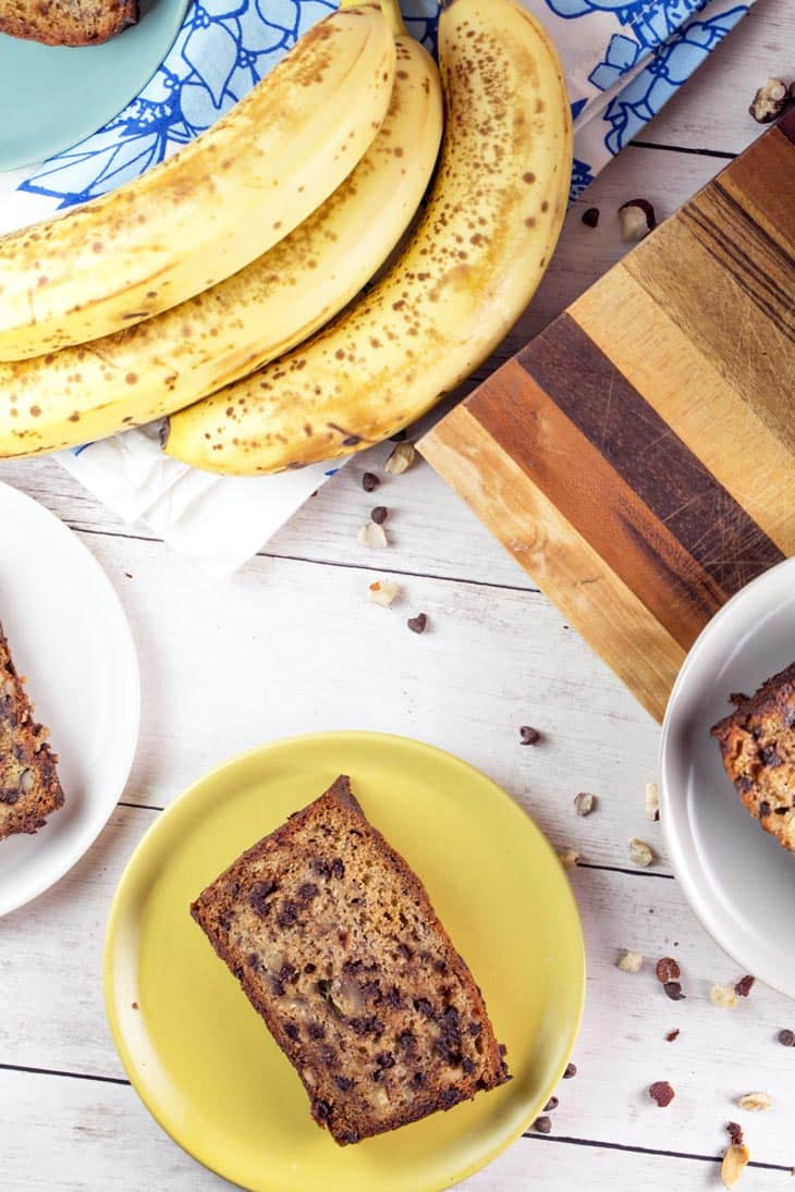 Chocolate Chip Banana Bread: a simple, delicious banana bread, full of chocolate chips and sprinkle of hazelnuts. Ultimate comfort in the form of a quick bread. {Bunsen Burner Bakery}
