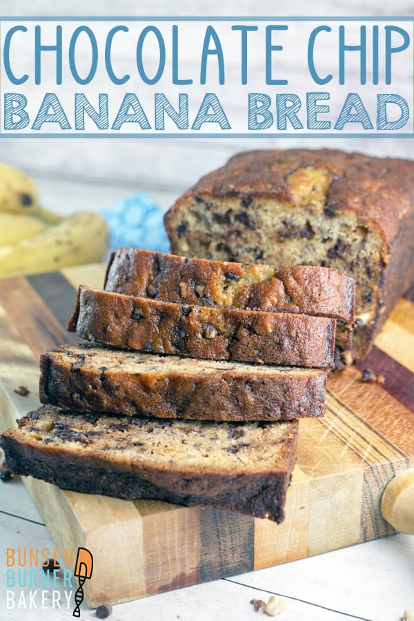 Chocolate Chip Banana Bread: A simple, delicious banana bread, full of chocolate chips and sprinkle of hazelnuts. Ultimate comfort in the form of a quick bread. #bunsenburnerbakery #bananabread #quickbread