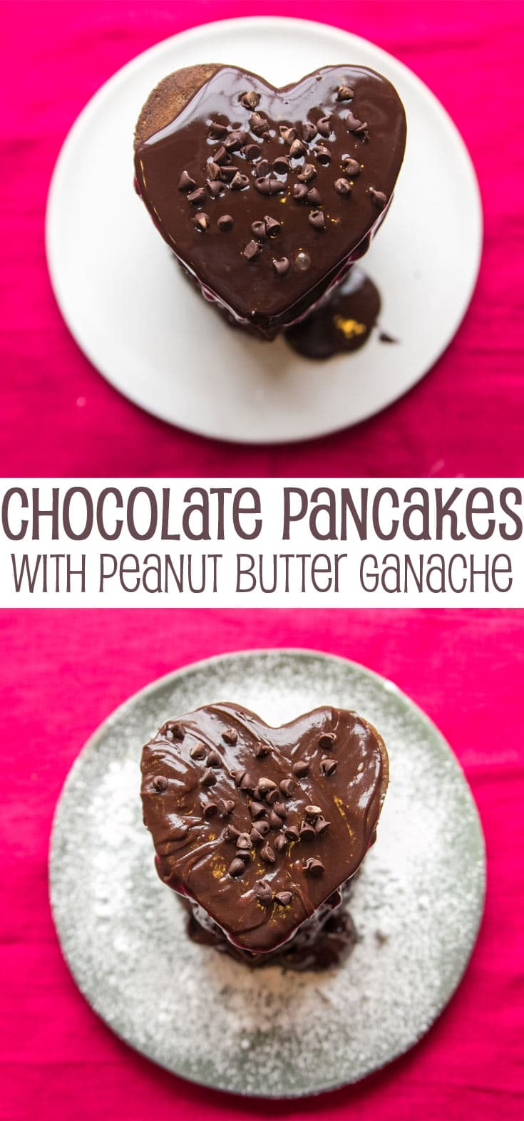 Chocolate Pancakes with Peanut Butter Ganache: Show someone you love them with this decadent breakfast. {Bunsen Burner Bakery}