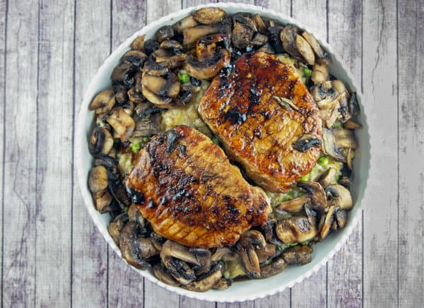 Truffle Risotto with Balsamic Mushroom Pork Chops: a dinner party worthy meal with a 30 minute weeknight timeframe. {Bunsen Burner Bakery}
