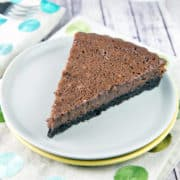 Chocolate Buttermilk Pie: sweet, custardy, and insanely chocolatey. This pie is worthy of a special event, but easy enough for a Tuesday. #bunsenburnerbakery #pie #chocolatepie #buttermilkpie #oreocrust