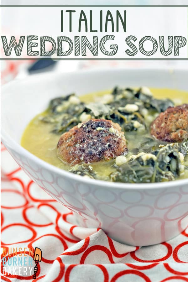Italian Wedding Soup: a delicious, comforting favorite, made with things already found in your freezer and pantry. #bunsenburnerbakery #soup #italianweddingsoup #meatballs