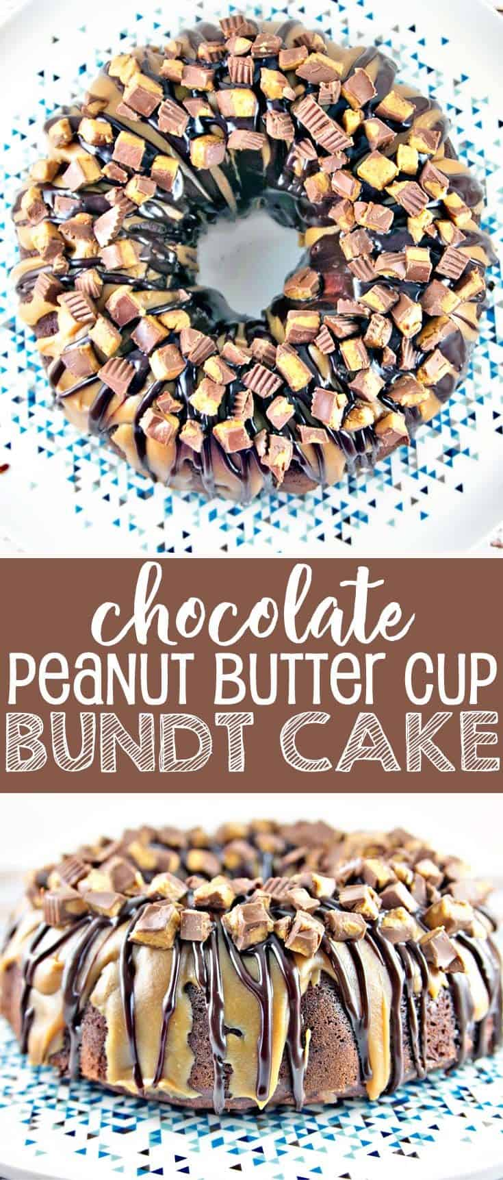 Chocolate Peanut Butter Cup Bundt Cake: light and fluffy chocolate cake made from scratch covered in peanut butter and chocolate ganache, topped with chopped peanut butter cups. #bunsenburnerbakery #cake #chocolatecake #bundtcake #peanutbuttercup #chocolatepeanutbutter