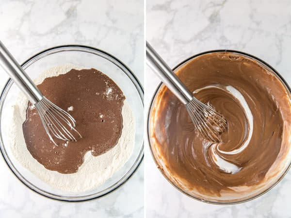 side by side photos showing a mixing bowl with dry ingredients and the melted butter and cocoa powder poured in and the second image showing them mixed together with a swirl of greek yogurt