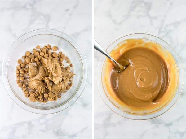diptych showing a glass mixing bowl with heavy cream, peanut butter chips, and peanut butter in one panel and the other panel shows the ingredients melted together and mixed until smooth as peanut butter ganache