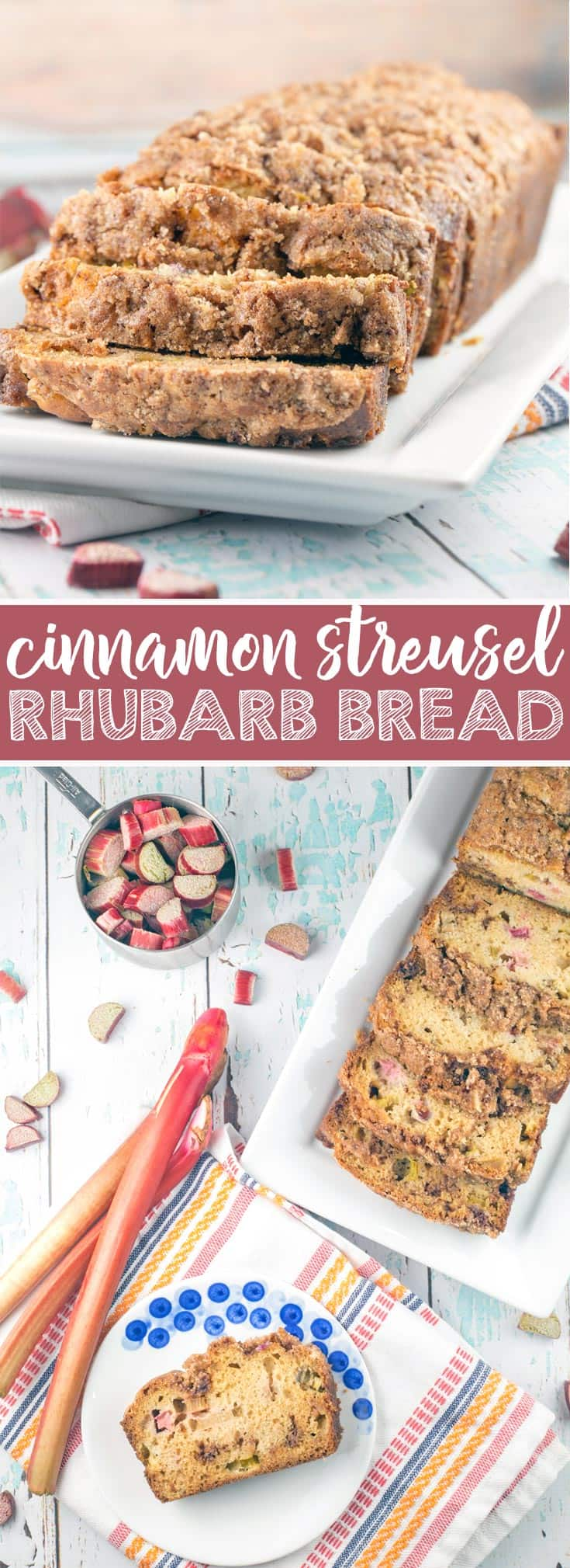 Cinnamon Streusel Rhubarb Quick Bread: a moist, tender quick bread jam packed with fresh rhubarb and a double dose of cinnamon streusel layered into the bread and coating the top.  {Bunsen Burner Bakery}