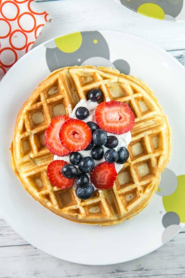 round waffle on a round plate with whipped cream and berries