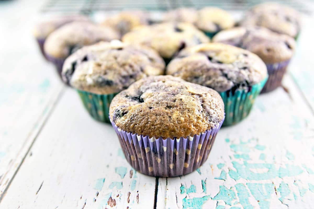 Blueberry Muffins: big bakery-style, sugar coated, traditional and delicious muffins! {Bunsen Burner Bakery}
